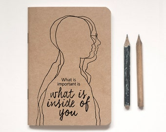 Kraft Notebook Lined or Blank plus vintage-inspired pencil, Illustrated 'PENCIL FOR LIFE' A6