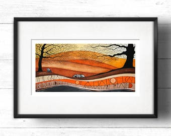 Badgers - Giclée Print by Sam Cannon - Wild Animals in the Woods from Original Watercolour Painting with Quotation Typography