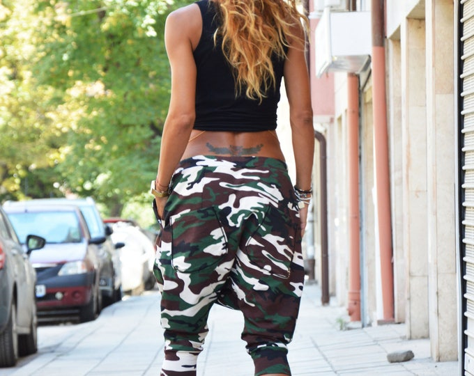 Camouflage Harem Pants, Drop Crotch Loose Pants, Wide Leg Extravagant Trousers, Handmade Pants by SSDfashion