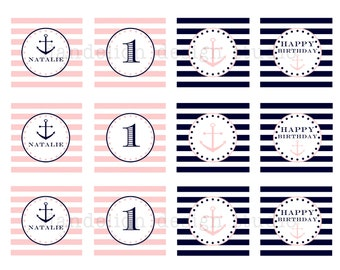 PRINTABLE Party Tags - Pink & Navy Nautical Party Collection - Dandelion Design Studio