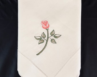 Rose design napkins, embroidered napkins, linen napkins, dinner napkins, hemstitched napkins, wedding gifts, gifts for mom, birthday gifts