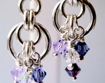 Handmade Sterling Silver Shades of Purple Swarovski Hoops