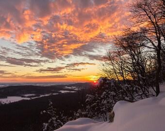 Winter Sunset, Snow, Sunset, Appalachian Mountain, Pennsylvania, Wall Art