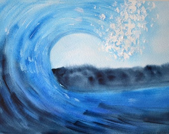 Wave blue, enhanced with white gouache, watercolor