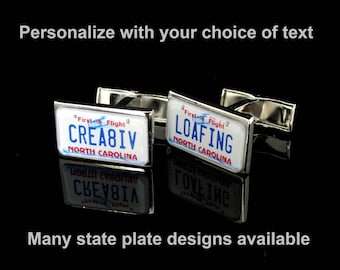 Personalized License Plate Cuff Links