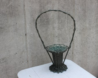 SALE Victorian Floral Basket, Wedding, Funeral, Vintage Green Reeds