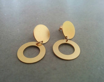 Circle stud earrings, Stud Earrings, Gold Post Earrings, Ear Studs, Circle earrings, gold studs, Gold Post, Gift For Her, Wedding Gift