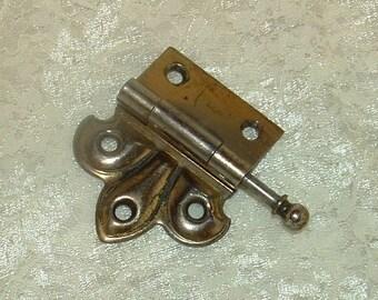 Brass Hinge Fleur de lis style door hardware salvage