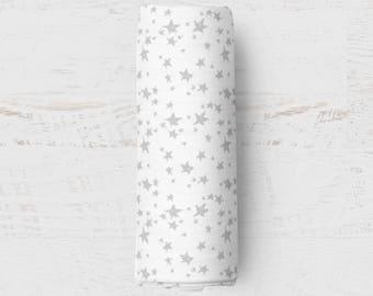 Organic Swaddle Blanket Stars. Silver Stars Organic Blanket. Baby Swaddle. Newborn Swaddle. Gauze Blanket. Peach Floral Blanket.
