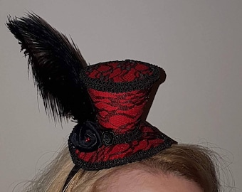 Red & Black lace mini top hat fascinator