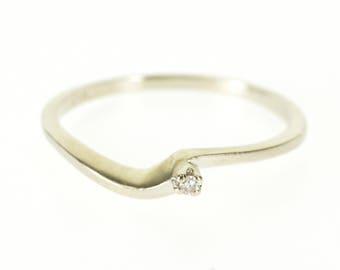 14k Diamond Inset Wavy Curvy Freeform Bypass Ring Gold