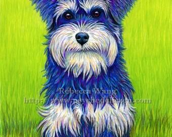 Colorful Miniature Schnauzer Dog Terrier Pet Portrait Vibrant Pastel Drawing