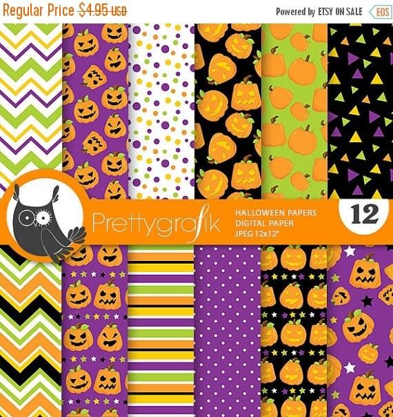 80 Off Sale Halloween Digital Papers Halloween Scrapbook Papers