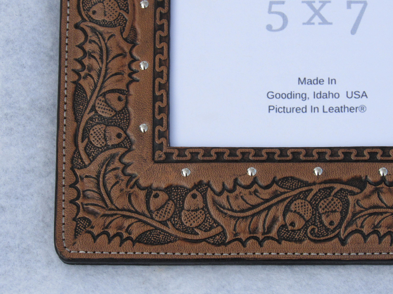 Leather picture frame, 5x7, embossed oak leaf photo frame, western ...