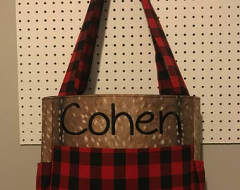 Faux Deer Hide skin with red plaid fabric Diaper Bag monogrammed