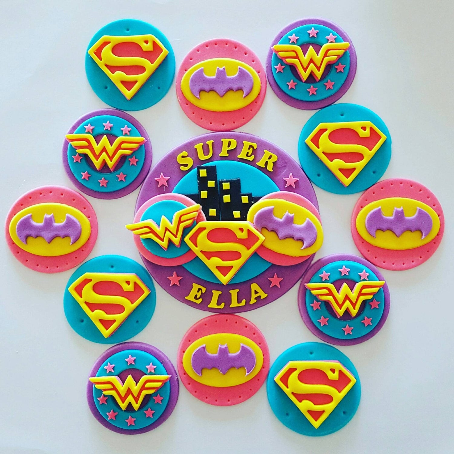 Girlie Superhero Cupcake Toppers X 12 And Cake Topper Kit