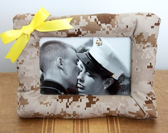Padded Military Cammie Picture Frame (USMC Desert/Woodland, Army, Navy, Air Force), Military Camo Decor