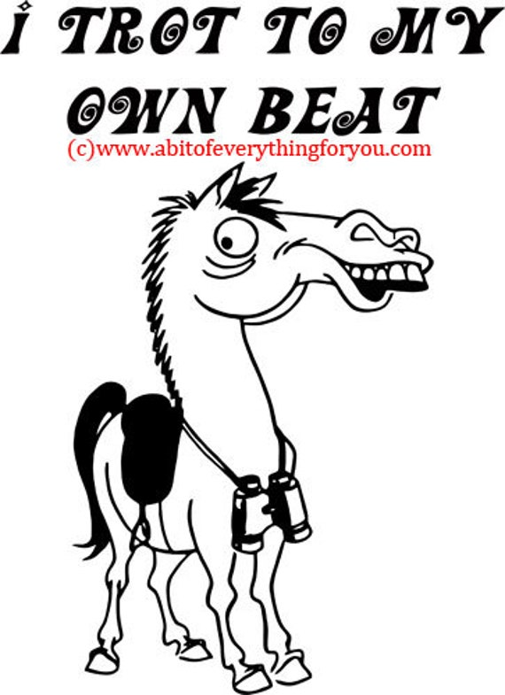 goofy horse I Trot To my Own Beat clipart png jpg Digital Download printable art Image animal graphics digital stamp