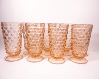 Set of 8 Peach Pink Whitehall Iced Tea Glasses - 1960's Peach Colony Whitehall Stacked Cube Glasses