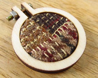 Brown Wools Boro Stitched Wood Hoop Pendant - Winter Accessories Necklace