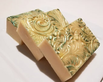 Botanical Orchard and Nectar Soap, Mothers Day Gift Soap, Yellow Gold Green Pear Blossom Soap Bar Shea Homemade Soap for Her Floral Soap