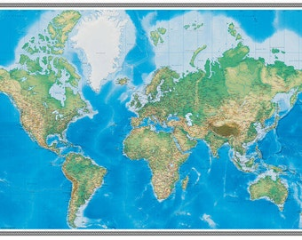 Swiftmaps World Map Wallpaper Wall Mural GeoPhysical 3D Edition Wall Covering Decoration for Home or Office