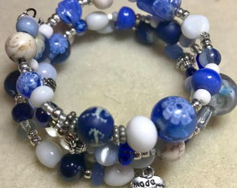 Blue and White Classic beaded hand-made Wrap Bracelet. FREE SHIPPING!