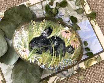 Bunny Rock, Painted Rock, Rabbit Rock, Garden Scene Rock, Garden Decor