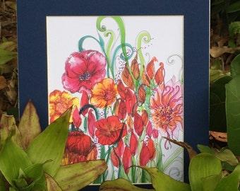 Boho Wall Decor / Boho Art Print / Bohemian Flowers / Dorm Decor / Matted Print