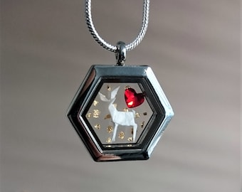 ORIGAMI Deer Necklace. Glass Locket. Bambi Necklace. Fawn. Swarovski Necklace. Valentine's Day. Paper Anniversary Gift. Sterling Silver.