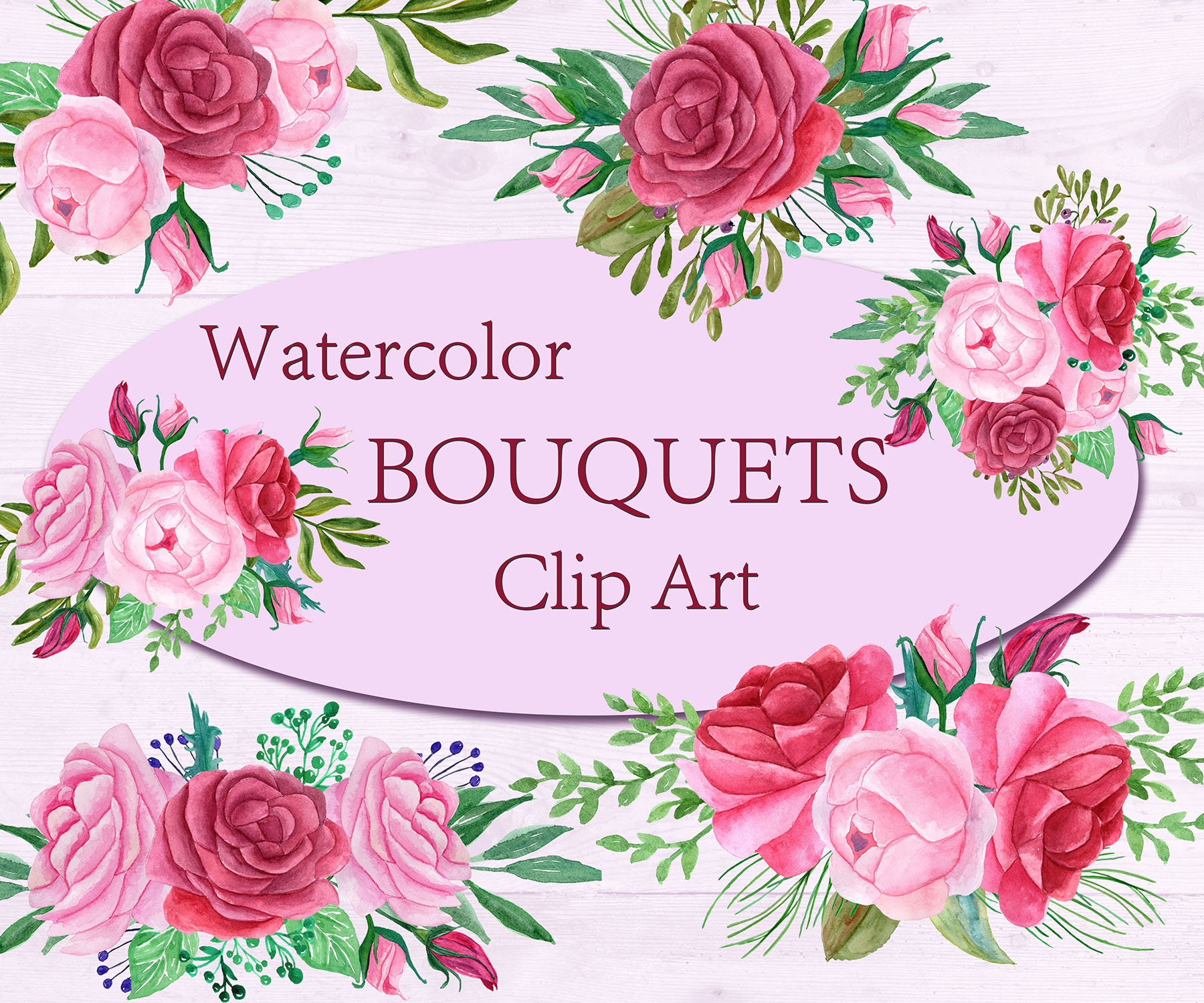 Pink Watercolor bouquets clip art,Floral bouquets,Pink Flowers ...