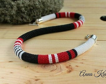 Beaded necklace Crochet beaded necklace Beadwork necklace Beaded Crochet Rope Necklace Striped print  Beaded jewelry