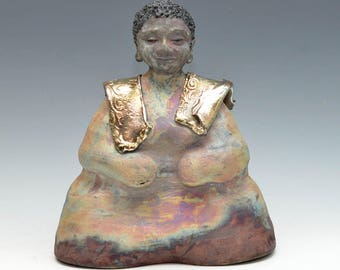 Large Black Buddha Statue With Golden Scarves Original Figurative Art Meditation Raku Ceramics Anita Feng