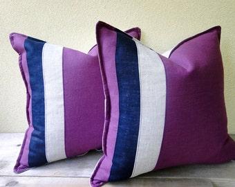 Linen pillow cover - nautical stripes cushion cover 16x16 - linen canvas pillow case - modern minimal decor - purple navy natural pillow