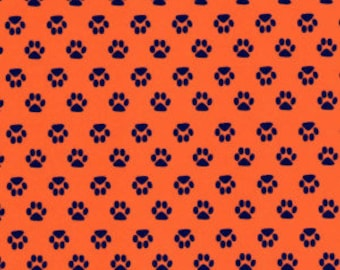 Fabric Finders Mini Navy Paws on Orange