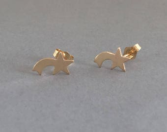 Shooting Star Post Earrings Gold Fill
