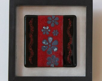Silver Flowers - Fused Glass Wall Art