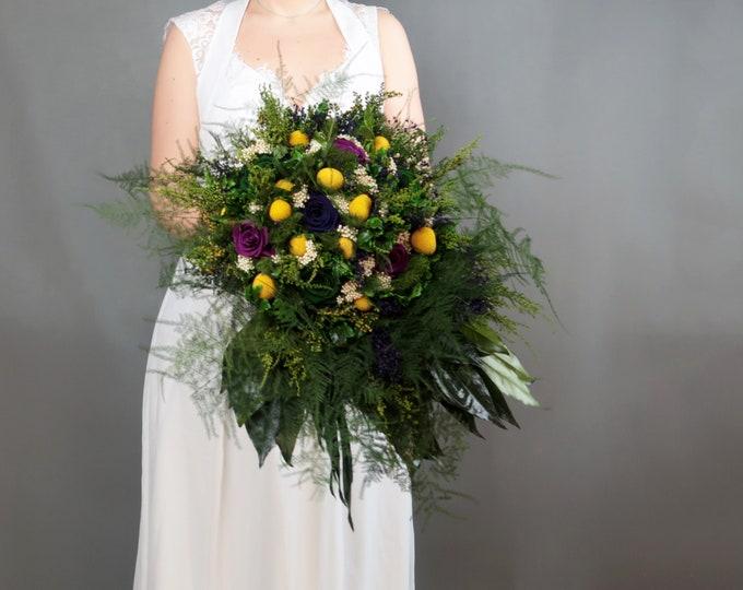 Preserved flower wedding bouquet ultraviolet purple plum green yellow craspedia real rose vintage style cascading greenery boho bouquet