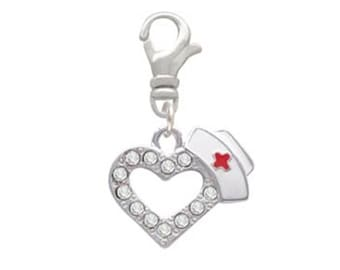 CRYSTAL HEART With Nurse Hat RN Medical Silver Plated Swivel Clip On Charm