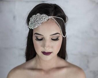 Bridal Halo, headband, pearl bridal headpiece, Gatsby inspired hair jewelry, bridal hair jewelry, bohemian hair jewelry