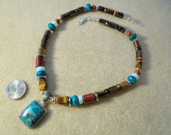 Pendant Necklace - Handmade - Shattuckite, Tiger Eye, Chrysocolla, Red Jasper, Peruvian Blue Opal, Sterling Silver