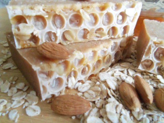 Honey Oatmeal Almond Scented Cold Process Soap with Shea Butter and Colloidal Oatmeal