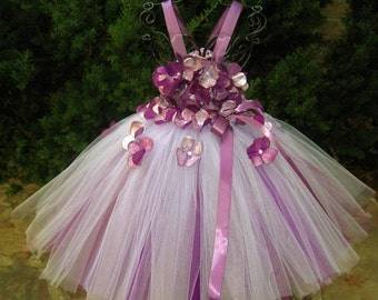 AUBERGINE SILVER FLOWERS, Tutu Dress, Eggplant and Silver, Flower Girl Gown, Pageant Girl Outfit, Birthday Tutu Dress, Purple Tutu Dress