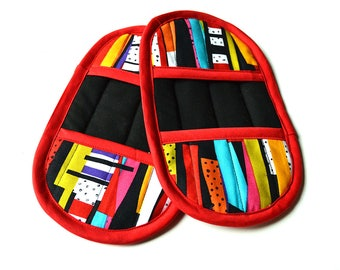 Colorful Pot Holders - Red Pot Holders - Colorful Oven Mitts - Red Oven Mitts - Black Pot Holders - Black Oven Mitts - Red Kitchen Decor