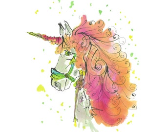 """UNICORN..Clipart / Digital Download / Hi Resolution of Original Watercolor . 8""""x10"""" Great for a multitude of applications."""