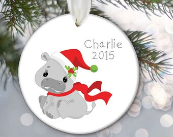 Hippo Christmas Ornament, Personalized Kids Christmas Ornament, Kids gift Gift for boys and girls Name & Date Jungle Animal Ornament OR680