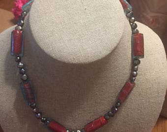 Unique glass bead and black pearl necklace