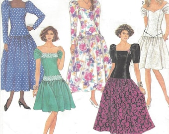 90s Womens Dropped Waist Dress with Neckline & Sleeve Variations Simplicity Sewing Pattern 7006 Size 10 12 14 16 18 Bust 32 1/2 to 40 FF