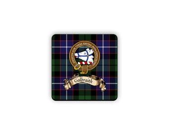 Galbraith Scottish Clan Tartan Motto Crest Rubber Coaster