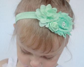 Cool Mint Green Baby Girl Headband - Pastel Mint Green Shabby Chic Flower Headband - Baby Headbands in Light Green